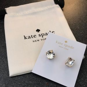 NEW Kate Spade mismatched faceted stud earrings